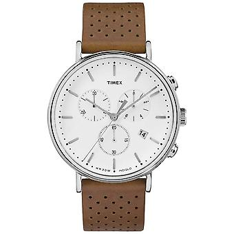Orologio Timex Fairfield Chrono marrone in pelle bianco quadrante TW2R26700