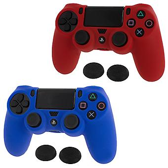 Controller cover skin & thumb grip twin pack for sony ps4 - blue & red