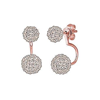 Women's earrings with double bean - silver 925 with crystals brilliant cut 0307590915