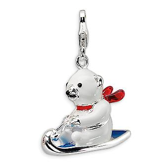 925 Sterling Silver Polished Fancy Lobster Closure 3 D Enameled Polar Bear Sled With Lobster Clasp Charm Pendant Necklac