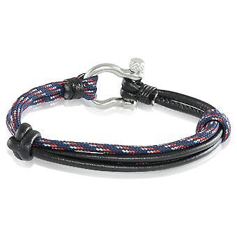 Skipper armbånd surfer band node maritimes armbånd nylon/læder blå multi farvede/sorte 7237