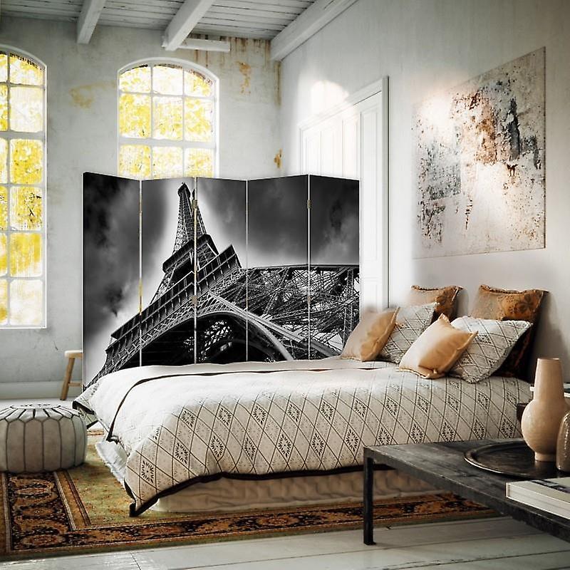 Diviseur de chambre, 5 panneaux, double-sided, 360 rotatable, toile, Tour Eiffel