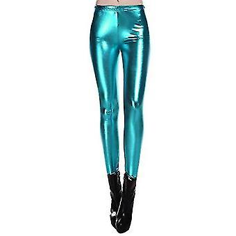 Diamant halten es flüssig nass Aussehen glänzend Metallic Stretch, blau, Größe X-Large