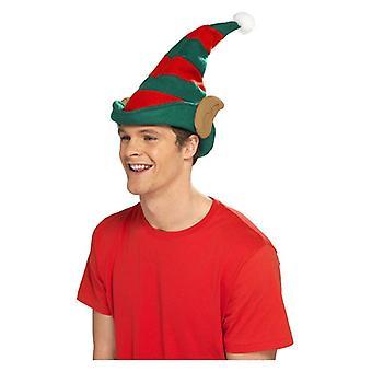 Rode & groene elf hoed met oren kerst fancy dress accessoire