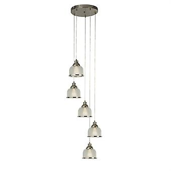 Searchlight Bistro Ii 5 Light Cluster Pendant Satin Silver, Glass Shade 1585-5SS