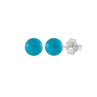 Eeuwige collectie Solo Turquoise howliet Semi Precious Stud Sterling Zilver doorstoken oorbellen