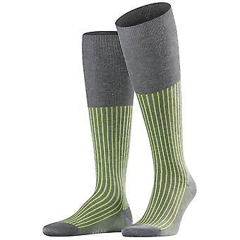 Falke Oxford Stripe Knee High Socks - Steel Melange Grey/Green