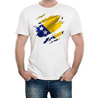Reality glitch torn bosnia flag mens t-shirt