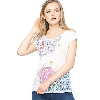 Desigual Women's Esmerelda Splatter Mandala Design T-Shirt