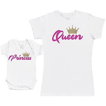 Princess & Queen - Baby Gift Set with Baby Bodysuit & Mother's T-Shirt