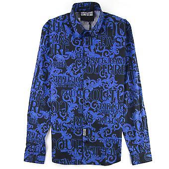 Versace jeans Couture logo barock lång ärm Print shirt blå