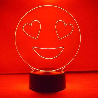 Smiley Emoji Colour Changing LED akryl ljus - hjärta ögon