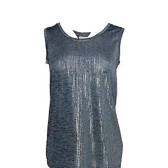 Susan Graver Women's Top XXS Foil Print Tank Blue A343099