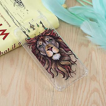 For Samsung Galaxy S10e Case Lion Stil Mønster Olje Preget TPU Tilbake Shell