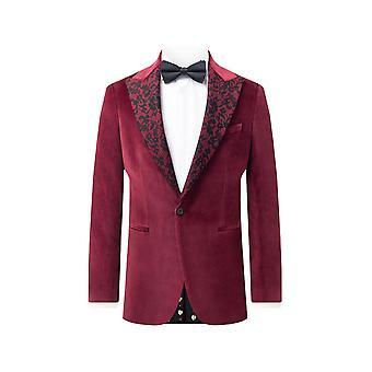 Twisted Tailor Mens Burgundy Velvet Jacket Skinny Fit Floral Pattern Lapel