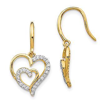 11.93mm Cheryl M 925 Sterling Silver 14k Gold Plated CZ Cubic Zirconia Simulated Diamond Love Heart Shepherd Hook Earrin