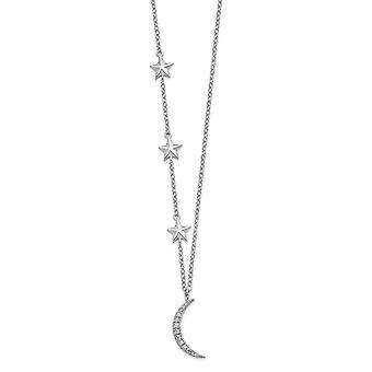 925 Sterling Silver Rh plated CZ Cubic Zirconia Simulated Diamond Stars and Celestial Moon With 2inch Ext. Necklace 16 I