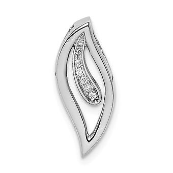 925 Sterling Silver Rhodium plated CZ Cubic Zirconia Simulated Diamond Journey Leaf Slide Jewelry Gifts for Women