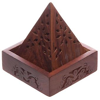 Sheesham Wood Pyramid Incense Cone Box with Flower Fretwork by Puckator