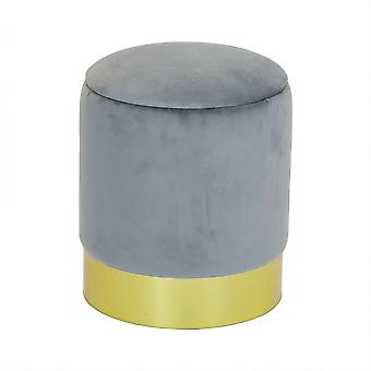 Charles Bentley Round Velvet Storage Dressing Table Stool Footstool Pouffe/Ottoman with Gold Base Grey