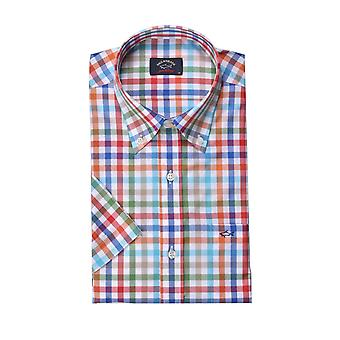 Paul & Shark Paul And Shark Short Sleeve Shirt Red Blue Orange Multi Check