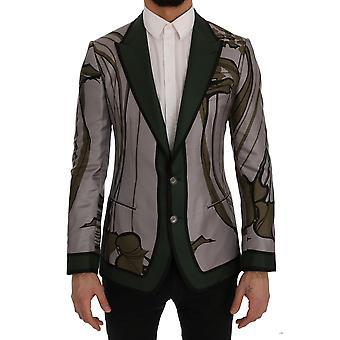Dolce & Gabbana Gray Green Floral Slim Fit Blazer Jacket