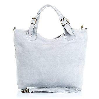 FIRENZE ARTEGIANI. Real leather lady shopping bag. Finished in leather genuino_ suede bag. MADE IN ITALY. REAL ITALIAN SKIN. 40 x 28 cm. Color: Light gray