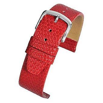 سحلية الحبوب جلد العجل ووتش حزام أحمر الكروم مشبك حجم 12mm إلى 22mm