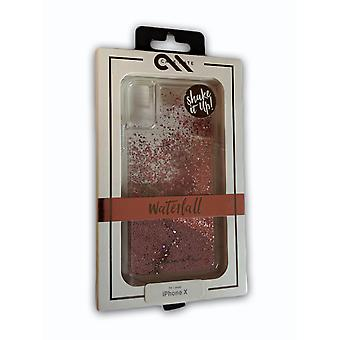 Case-Mate Waterfall Cascading Liquid Giltter Case for iPhone X/Xs - Rose Gold (Clear/Pink Gold)