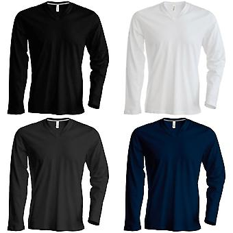 Kariban Mens Slim Fit camiseta de cuello V manga larga