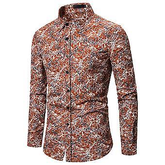 Allthemen Férfi's Dress Shirt nyomtatott hosszú ujjú póló fél