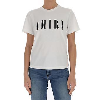 Amiri Y0w03338cjiavorionero Donne's T-shirt di cotone bianco