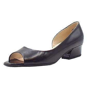 Peter Kaiser Pura Low Heel Open Toe Shoes In Black Chevro