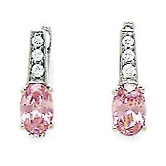 14k White Gold October Pink 3x5mm Oval CZ Leverback Earrings Measures 12x3mm Jewelry Gifts for Women