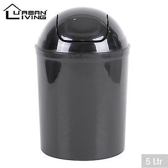 Black Plastic 5 Litre Mini Swing Top Lid Waste Bin Office Home Bathroom Toilet