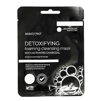 Beauty Pro Detoxifying Foaming & Cleansing Sheet Mask with Activated Charcoal 23g