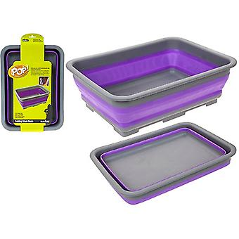 Summit Pop Folding Wash Basin Silicone Bowl Camping Caravan - Roxo / Cinza