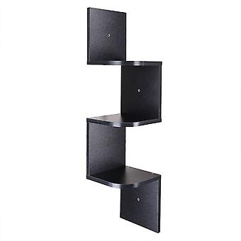 Yescom 3 Tiers Zig Zag Floating Wall Mount Corner Shelf Wooden Display Shelves Storage Organizer with Gradienter Black
