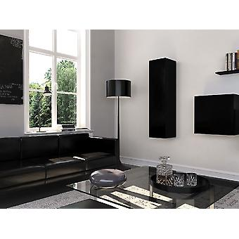 Mobile Multipurpose Graz Color Black Opaque, Black Shiny in Chip, MDF 30x30x120 cm