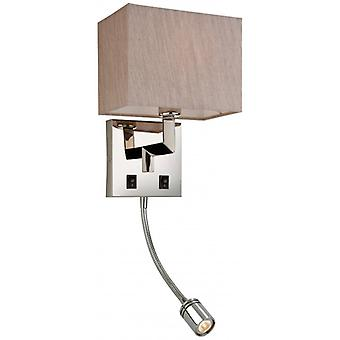 Lex Wall Lamp With Reading Light, With Pearl Shade
