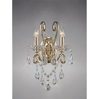 Vela Wall Light With Switch 2 Bulbs Gold / Crystal