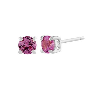 Classic Round Pink Sapphire Stud Earrings in 9ct White Gold 3.5mm 117E0031159