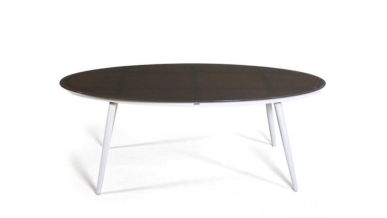 Alu Esstisch Milchglas 200 cm, oval - weiß