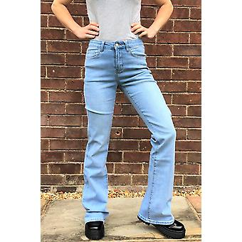 Womens Faded Light Mid Rise Stretch Denim Flared Bootcut Jeans