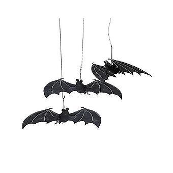 3 Fabric Hanging Bat Decorations for Halloween Parties