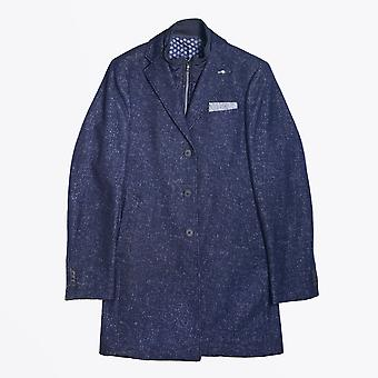 Blue Industry  - Wool Speckled Overcoat - Navy