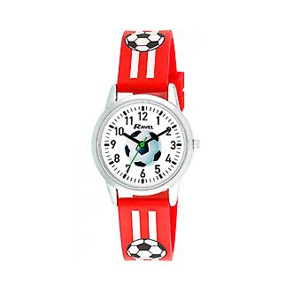 Ravel Kids Boys Large Dial Easy to Read Numbers Red & White Stripe Football Rubber Strap Watch R1809.10