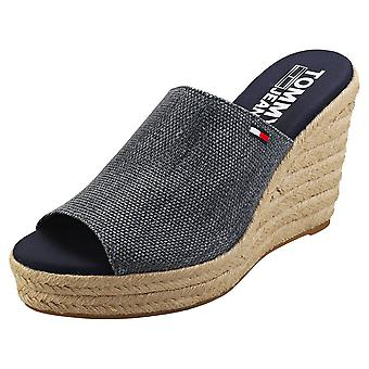 Tommy Jeans Natural Wedge Womens Wedge Sandals in Navy