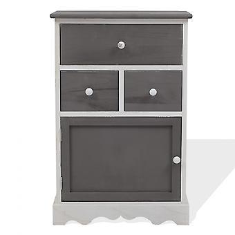 Rebecca Huonekalut Mobile Cabinet Shabby White Grey 3 Laatikot 1 Anta 72x47x30