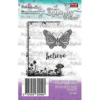 Polkadoodles Butterfly tror klare frimerker